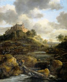 Jacob Isaakszoon van Ruisdael: A View of Burg Bentheim (painting of landscape with castle in background) Landscape Art, Landscape Paintings, Mountain Landscape, Art Paintings, Dutch Golden Age, Dutch Painters, Old Master, Renaissance Art, Art Reproductions