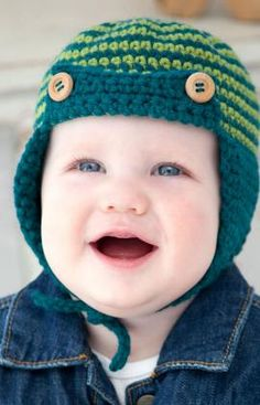 Free crochet pattern for Baby Boy hat found at http://www.redheart.com/free-patterns/baby-sherlock-hat