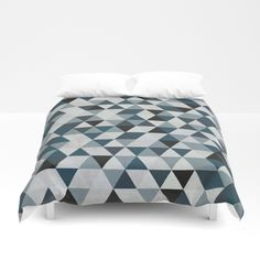 Sea Blue and Grey / Gray - Hipster Geometric Triangle Pattern 02 Duvet Cover by pelaxy Moving To Dallas, Triangle Pattern, Foot Of Bed, Soft Duvet Covers, Duvet Insert, Navy And White, Comforters, Two By Two, Just For You