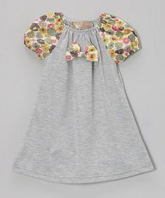 Look at this #zulilyfind! Gray Floral Bow Peasant Dress - Toddler & Girls #zulilyfinds