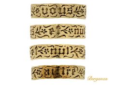 Medieval posy ring, 'vous et nul autre' (you and no other). A flat band engraved and enamelled to the exterior in black letter script 'vous et nul autre', interspersed with flower motifs and curlicues, approximately 5.2mm in width, approximately 3.2g in weight. Tested yellow gold, circa 15th century.