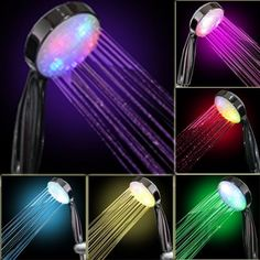 Amazon.com: 7 COLOR LED SHOWER HEAD ROMANTIC LIGHTS WATER HOME BATH - get a warm glow under the shower! Home & Kitchen