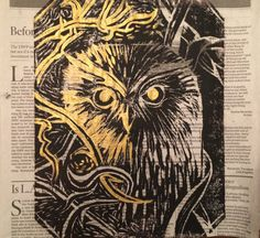 Hand Stamped Owl Art highlighted with gold by HartungDesignsCo
