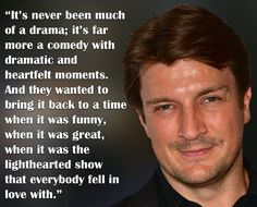 Nathan outlines the tonal shift as season 8 develops. Oct 2015 tv line interview Castle Season 8, Castle 2009, Castle Tv Series, 2015 Tv, Oct 11, Nathan Fillion, Outlines, Falling In Love, Comedy