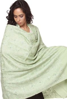 Exotic India Swamp-Green Shawl with Ari Embroidery and Sequins - Green Exotic India. $170.00