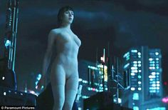 Flawless figure: Scarlett Johansson showcases her svelte physique in a nude bodysuit for her titular role as Major in the upcoming sci-fi film Ghost In The Shell