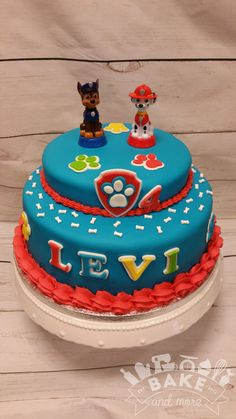 Verjaardagstaart van Paw Patrol met Marshall en Chase. Paw Patrolw birthday cake with Marshall and Chase