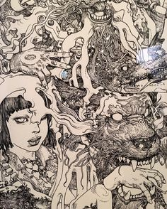 "Black marker mastery by Katsuya Terada as part of the @takashipom ""Superflat Collection"" show up now at Yokohama Museum of Art. by juxtapozmag"