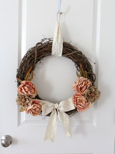 20% off coupon - Grapevine Wreath with Burlap Flowers - Ready to Ship by Creazi on Etsy