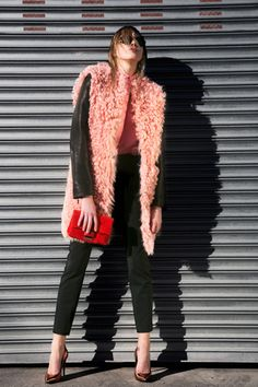 Cédric Charlier Pink Shearling for pre-fall. Looks chic with black.