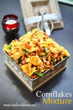 Easy namkeen Cornflakes Mixture or Chivda quick, crunchy and addictive, makes great tea time snack or for Diwali, any festival .try this super easy namkeen Meat Recipes, Indian Food Recipes, Snack Recipes, Healthy Recipes, Ethnic Recipes, Healthy Bars, Appetizer Recipes, Cake Recipes, Kitchens