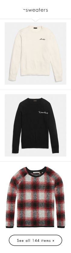 """~sweaters"" by courageousmind ❤ liked on Polyvore featuring tops, sweaters, cream, white top, bike top, white sweater, crew neck sweaters, crewneck sweaters, sweatshirts and black"