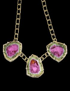 """Trilogy"" Watermelon tourmaline crystals and diamonds set in gold necklace. 112.18 carats of tourmalines.  Designed by Lester Lampert of Lester Lampert, Inc.  On display at Field Museum - Gallery of Gems in Chicago, IL."