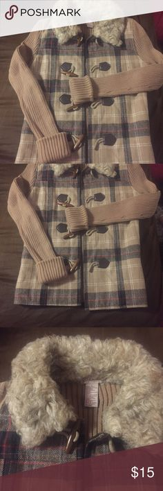 Plaid toggle/sweater coat Great for fall!  Nice sweater coat with toggle closures.  Faux fur-type collar.  This is juniors size large but it runs small.  I usually wear a small and it fit me fine- the sleeves were long but they look great cuffed. glimmer Jackets & Coats Trench Coats