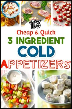 Easy Cold Appetizers to Make Ahead or Last Minute - 3 ingredient cold appetizers & cold dip recipes for a crowd. Easy potluck appetizers cold finger food buffet ideas & NO COOK cold finger food buffet Cold Party Appetizers, Cheap Appetizers, Fingerfood Party, Appetizers For A Crowd, Snacks Für Party, Food For A Crowd, Toothpick Appetizers, Easy Make Ahead Appetizers, Seafood Appetizers