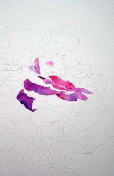 Heidi Klum Rose Watercolor Painting Image 1