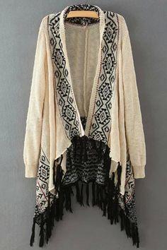 Chic Collarless Geometrical Pattern Long Sleeve Cardigan For Women