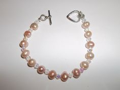 Peach Fresh Water Cultured Pearl Bracelet with by TonisOnlineShop, #mentionmonday #jewelry #spiritual