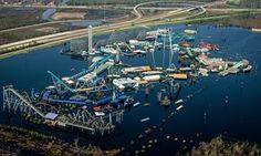 Underwater: TheSix Flags Amusement park. Bob in New  Orleans, flooded by by Hurricane Katrina in 2005.  http://www.theguardian.com/lifeandstyle/2015/oct/11/pretty-vacant-glory-of-abandoned-spaces-richard-happer
