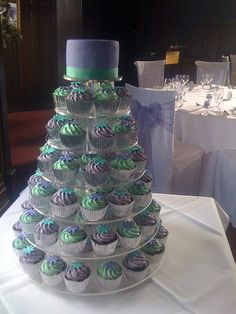 Teal & Purple Wedding cake idea I like but the color's are light blue and white :)