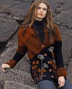 Кардиган с вышивкой - схема вязания спицами. Вяжем Кардиганы на Verena.ru