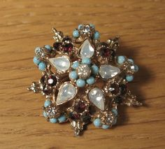 Vintage Ruby Red Rhinestone Star Pin Brooch Moonstone Faux Turquoise Gold Tone #unknown