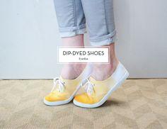 A summery DIY: dip-dyed sneakers.