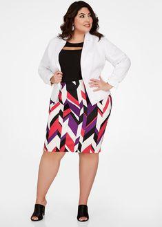c77c11fb418 Geo Print Pencil Skirt - Ashley Stewart Plus Size Pencil Skirt