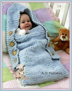 This PDF Knitting Pattern is for this simple to knit Sleeping Bag or Sack/ Cocoon. Stitch. You would require 4-5 x 50 gram balls of funky felt