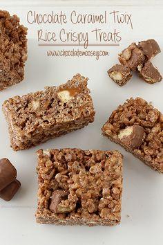 Chocolate Caramel Twix Rice Crispy Treats   www.chocolatemoosey.com