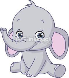 baby elephant cartoon vector art illustration jungle nursery