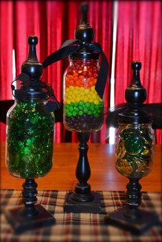 March St. Patrick's day Apothecary jars.