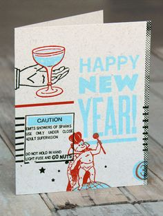 HAPPY NEW YEAR - Send a New Year's card to friends & family, or use as party invitations.  From The Firecracker Press.