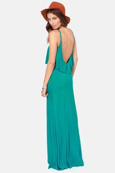 Check it out from Lulus.com! Why opt for one lovely layer, when the Moved to Tiers Teal Maxi Dress offers you two