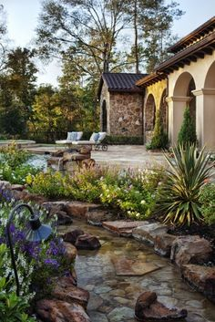 stone landscaping - would prefer a more natural water feature - a bit less placed if poss