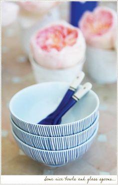 blue white rice bowls