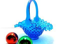 Vintage Fenton Blue Hobnail Basket by Kisses4Lucy on Etsy, $29.00