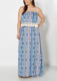 Plus Folklore Crochet Flounce Maxi Dress | rue21