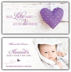Alessandra: Geburtskarte 210x100 mm // Karte auch in anderer Farbe oder mit einem unserer anderen Herzen erhältlich // (©Foto: http://www.corinnechollet.ch)