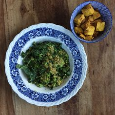 Green Goddess Quinoa with Indian-Spiced Chickpea Tofu.