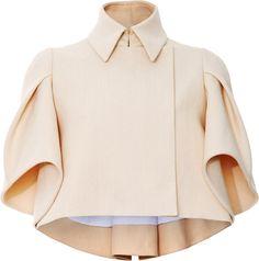 DELPOZO Beige Pleated Sleeve Jacket - Lyst