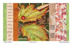 Sketcbook Series: A little ladybug lingered on the fall leaves long enough for me to fall in love; 1903 letter fragment, 1934 stamp catalog fragment, hand-painted and altered paper fragments