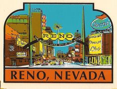 Perfect for a vintage car window! Reno Nevada, 1960s, Decal, Graphics, Retro, City, Places, Travel, Vintage