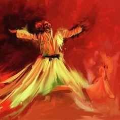Painting 715 4 Sufi Whirl I by Mawra Tahreem Islamic Art Calligraphy, Caligraphy, Black Canvas Art, Diy Lace Ribbon Flowers, Islamic Patterns, Islamic Paintings, Decoupage Art, Arabic Art, Turkish Art
