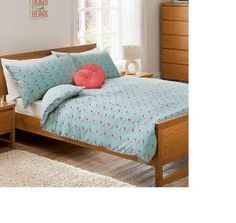 George Home Minty Birds Duvet Set - King Size Duvet Bedding Sets, Pink Bedding, Vintage Birds, Vintage Pink, Green Duvet Covers, Wooden Bed Frames, King Size Duvet, Bed Linen Sets, Bird Prints