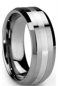 8mm Hybrid Tungsten Carbide Wedding Band With Satin Center Stripe