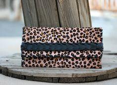 Pony Skin Leather Clutch  Leopard print pony by EleannaKatsira
