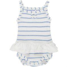Body jupe bretelles rayé bleu clair et blanc BDM Girl (6 mois : 68 cm) : Noukie's layette - Body manches courtes - Berceau Magique