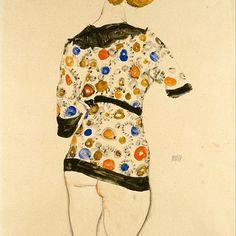 Standing woman in a patterned blouse, by Egon Schiele 1912 #vienna #art #egonschieleswomen #egonschiele #schiele