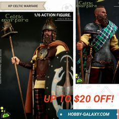 Kaustic Plastik: Celtic Warfare - Clan Chieftain / Warrior 1/6 Scale Action Figure Combo! Up to $20 off MSRP!  Pre-Order at Hobby-Galaxy.com!  #celtics #celtic #celticwarrior #chieftain #actionfigures #actionfigure #onesix #onesixthfigure #onesixscale #onesixthrepublic